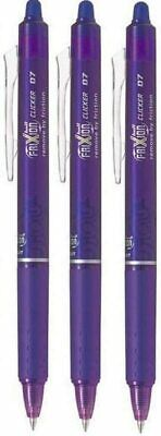3 X Pilot FriXion Clicker BALL Erasable Rollerball PENS 0.7mm Tip Purple Ink • 7£