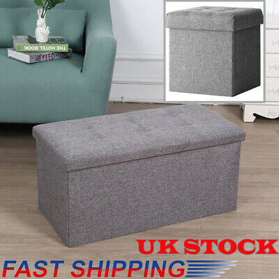 Grey Large Linen Folding Storage Ottoman Pouffe Seat Foot Stool Storage Box UK • 13.99£