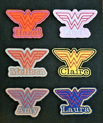 £3.45 • Buy Personalised Embroidered Name Patch Badge Wonder Women Iron On Or Sew