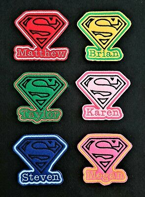 £3.45 • Buy Personalised Embroidered Name Patch Badge Super Man Iron On Or Sew