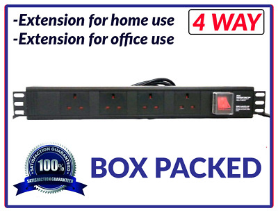Power Distribution Unit Strip Extension 4 Way 19in Rack Switch Horizontal Mount • 12.99£