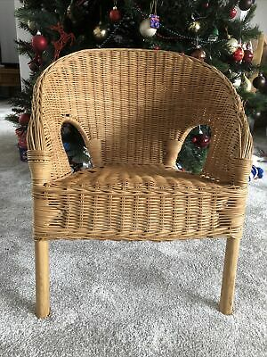 Kids Small Wicker Rattan Bamboo Chair - IKEA Agen 18615.  Age 3-7 Stackable  • 10£