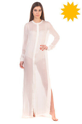 RRP €560 LA PERLA Silk Nightgown Size 44 / L Ivory See Through Long Sleeve • 49.99£