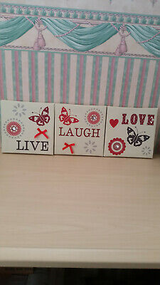 Live Love Laugh Home Decor Canvas Wall Art 3 Picture Prints 7 By 7 Inch • 21.62£