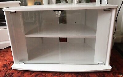 Tv/dvd Cabinet/stand With Toughened Safety Glass Doors Refurbished Shabby Chic • 23.99£