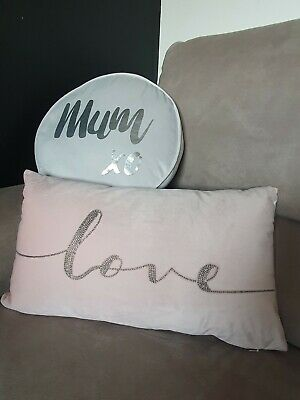 Mum Cushion Quote Pillow Mothers Day Gift Grey & Pink Suede Velvet Beaded Love • 20£