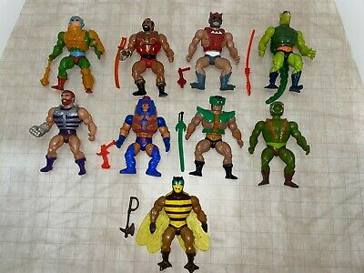 $149.99 • Buy Lot Of 9 1984 MOTU Masters Of The Universe Buzz-Off Whiplash Fisto Man-E-Faces