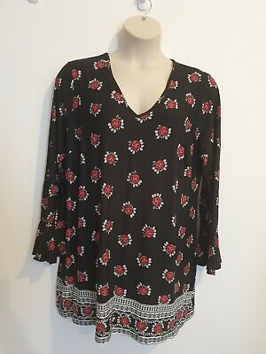 Ladies Black & Pink Floral Long Sleeve Long Line Top From George Size 22 • 0.99£