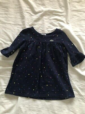 Lacoste Toddler Size 3 (age 2-3) Navy With Rainbow Polka Dot Dress • 7£