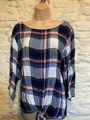 Check Tie Front Top Size  L Fit 16 18 • 1.04£