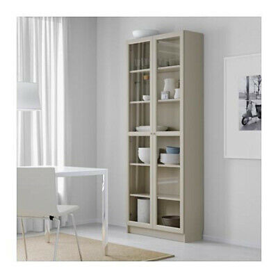 IKEA Billy Oxberg Beige Bookcase With Glass Doors • 35£
