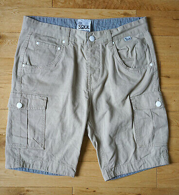 Men's Five Five 55 Soul Beige Cargo Shorts Cotton Size M W36 Casual Summer • 20£