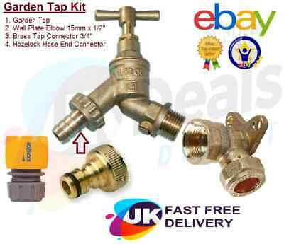 £12.35 • Buy Outside Garden Tap With Wall Plate, Hozelock Hose End , Brass 3/4  Connector Kit