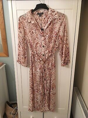 Button Up Snake Print Shirt Dress With 3/4 Sleeves And Belt UK16 • 10£