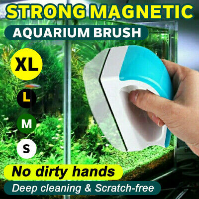 AU15.96 • Buy Magnetic Aquarium Cleaner With Handle Fish Tank Glass Brush Algae Scrubber Float