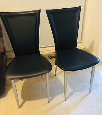 AU390 • Buy NICK SCALI - Black Leather Dining Chairs (8 Chairs)