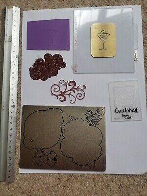 Die Cutter Swirl And Bow/labels Embossing Small Flower And Wine Glass • 4£