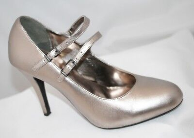 Next Pewter Leather Mary Jane Stiletto Shoes Size 4 • 4.99£