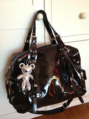 Luxury Il Tutto 'Nico' Black Patent Baby Changing Bag + Accessories • 15£