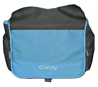 NEW ICandy Peach Jogger Changing Bag - Black & Bubblegum Blue • 12£