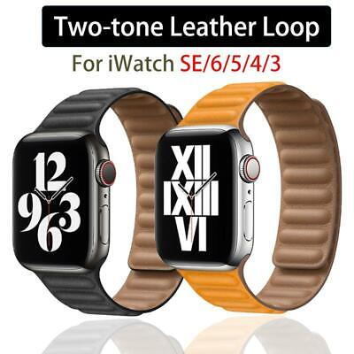 AU17.42 • Buy Genuine Leather Band Strap IWatch Magnetic Breathable For Apple Watch 6 5 4 3 SE
