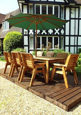 £1199.99 • Buy 8 Wooden Seat Chairs + 8 Seater Garden Wood Table Parasol Set Large Furniture