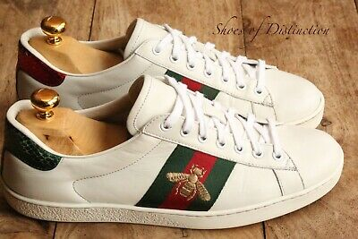 AU300.89 • Buy Men's Gucci Ace Red Green Stripe Bee White Leathrer Trainers Sneakers UK 7.5