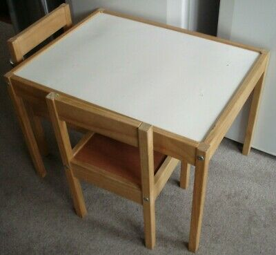 Ikea  Childrens Wood Table And 2 Chairs • 22.50£