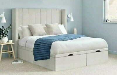 Upholstered Wing Headboard Ottoman Storage Gas Lift Bed Double & King Size  • 449.95£