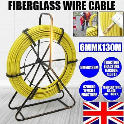 Fiberglass Cable Running Rod Duct Puller Fish Tape Electric Reel Wire 130mx6mm • 79.99£