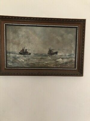 Antique Oil On Canvas. Sea/nautical Scene • 45£