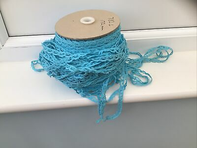 Large Roll Of Vintage Blue Cotton Trim 12mm Wide. • 10£