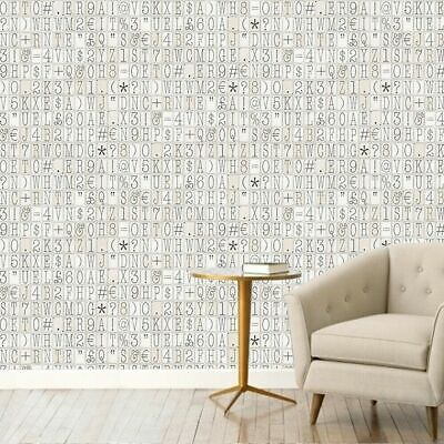 NEW RRP £59 Typography Pattern Letters Numbers Typeface White Wallpaper • 15£