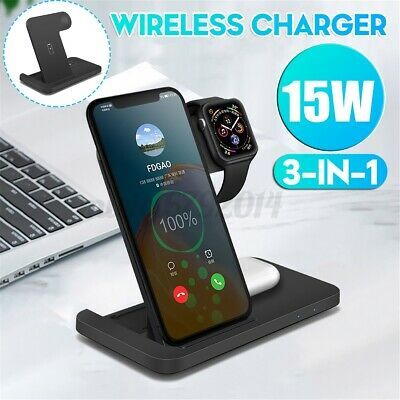AU32.81 • Buy 3 In 1 Qi Fast Charging Dock Charger Stand For IPhone For AirPods Watch