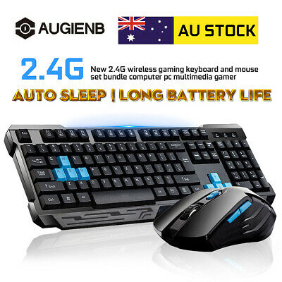 AU33.65 • Buy Wireless 2.4G Computer Gaming Keyboard And Cordless Optical Mouse Set Office AU