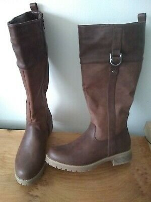 Ladies Brown Leather Knee High Boots Size 5. Fur Lined. New • 21£