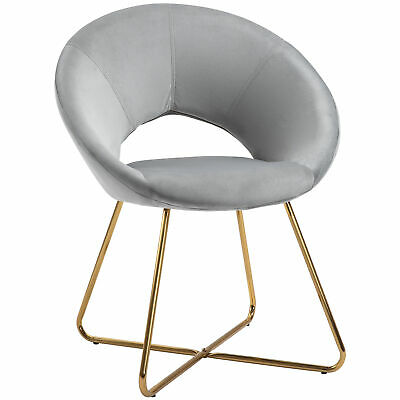 £66.99 • Buy HOMCOM Modern Accent Chairs Velvet Upholstered Armchair With Gold Legs Grey