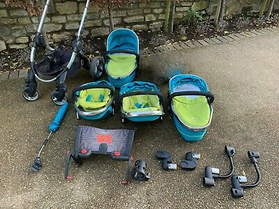 Lovely ICandy Peach 3 Double Pram Pushchair Travel System - Blue Teal And Green • 180£