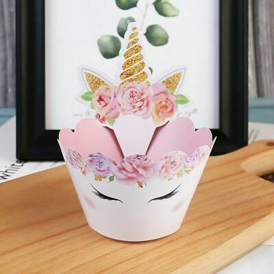 £4.79 • Buy 12 Sets Unicorn Cup Cake Cupcake Wrappers Case Toppers Birthday Party Hot