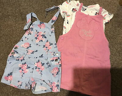 Girls Dungaree Short And Dress Age 3-4  • 3.20£