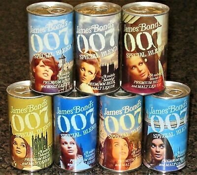 $85 • Buy James Bond 007 REPLICA / NOVELTY Beer Cans, Complete Set Of 7