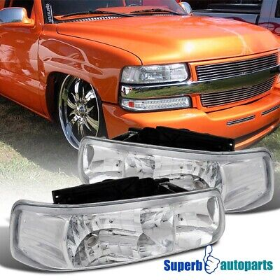 $59.98 • Buy For 2000-2006 Chevy Suburban Tahoe Crystal Clear Headlights Head Lamps Pair