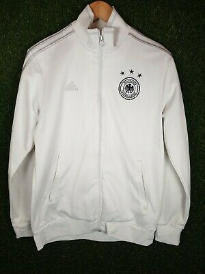 Adidas Germany White Track Training Football Jacket Top Zip Up Medium • 14.99£