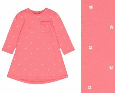 £6.99 • Buy MOTHERCARE Girls Baby Dress Coral Pink Floral 3/4 Sleeved Cotton A Line NEW
