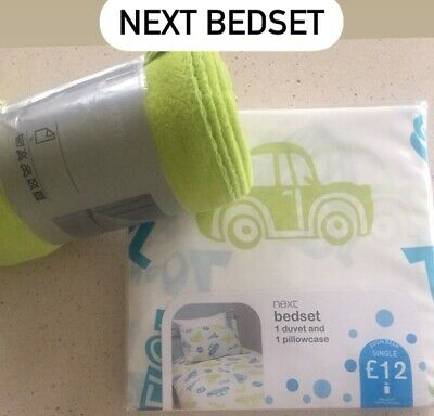 NEXT New Kids Boys Single Duvet Bedding Set& Ikea Throw Blanket ,blue,green,cars • 5.50£