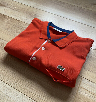 Men's LACOSTE Polo Shirt DEVANLAY F8330 Slim Fit | Burnt-Orange | Size 5 (LARGE) • 24.99£