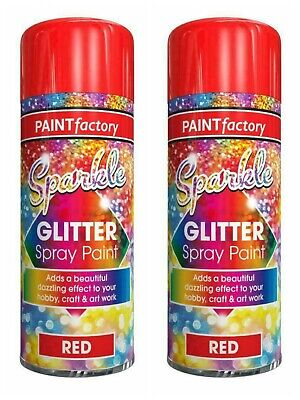 2x Clear Lacquer Coating With Sparkling Red Glitter Spray Paint Hobby Craft Arts • 4.99£