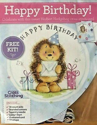 £2.59 • Buy HAPPY BIRTHDAY Herbert Hedgehog Cross Stitch Card Kit Presents Letter Balloons
