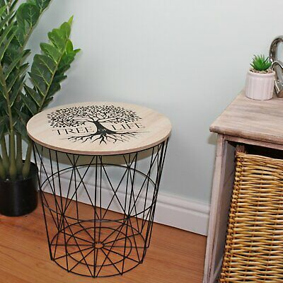 Side End Table Tree Of Life Geometric Metal Wire Wooden Top Storage Black 40cm • 29.95£