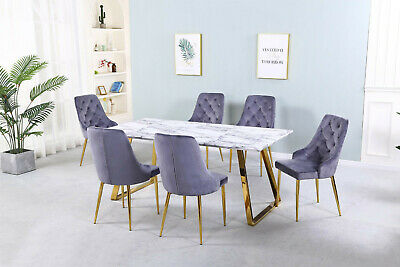 Dining Table Set Marble Effect Top Gold Finish Chrome Legs Six Grey Velvet Chair • 849.99£